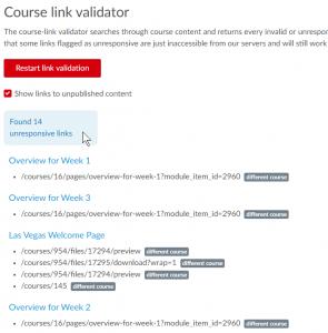 screenshot of Course Link validator report