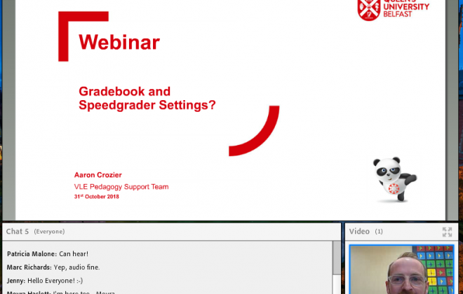 screenshot of webinar wednesday on gradebook and speedgrader settings