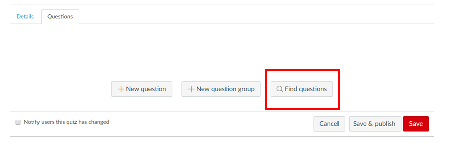 Screenshot highlighting find questions button in Canvas