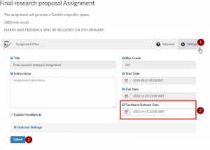 screenshot of feedback release date