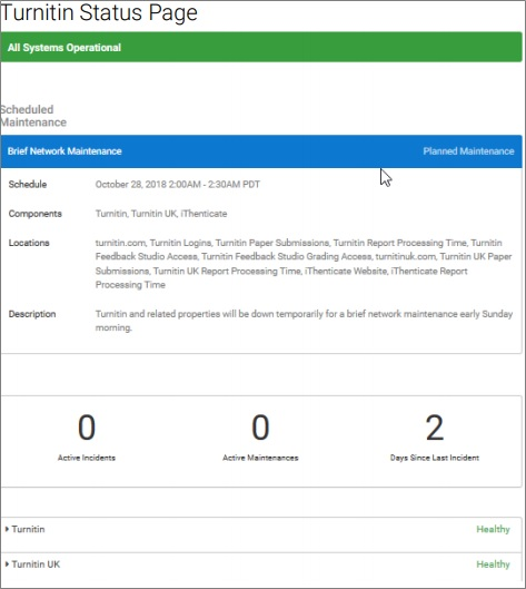 Screenshot of Turnitin Status page