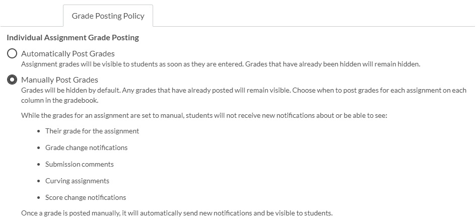 Image shows a screenshot of the Canvas Grade Posting Policy