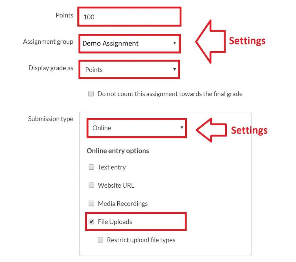 edit assignment settings
