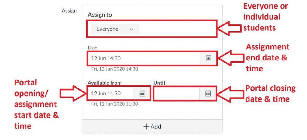 set assignment dates