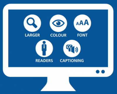 Figure 1: Computer screen image with five icons representing larger, colour, font, captioning, readers and text.