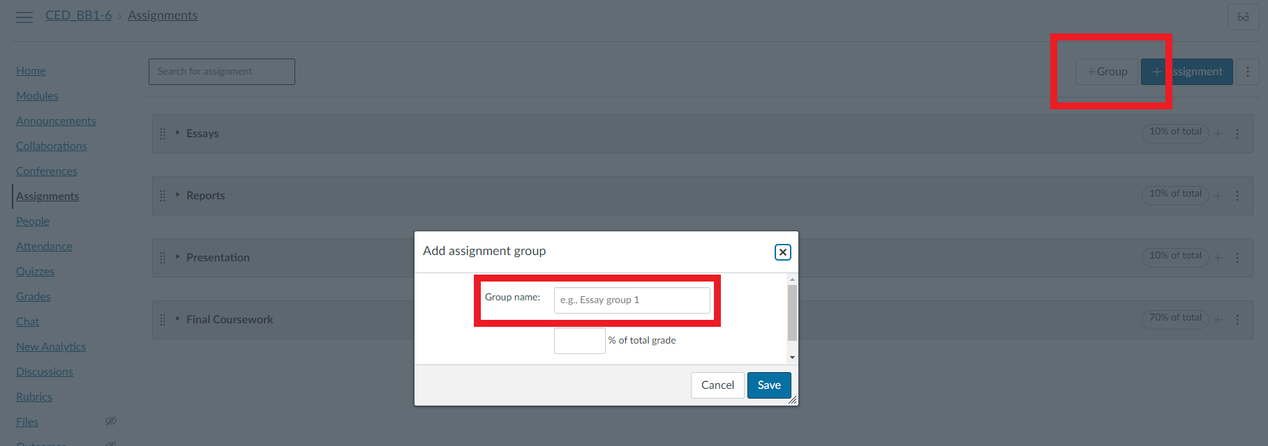Add Assignment Group Screenshot
