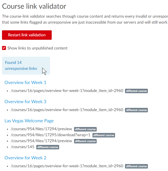 screenshot of Course Link validator report