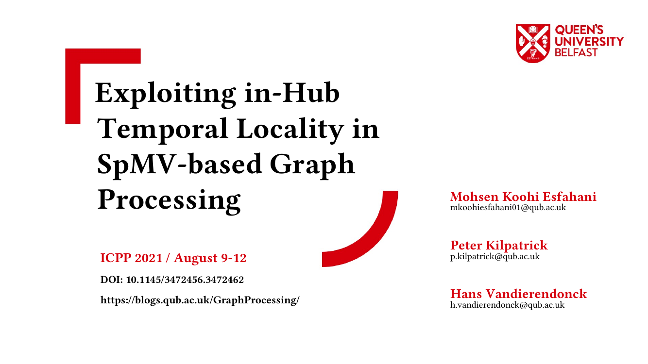Exploiting in-Hub Temporal Locality in SpMV-based Graph Processing