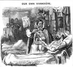 Satiric portrayal of Mary Seacole's activities in the Crimean War.