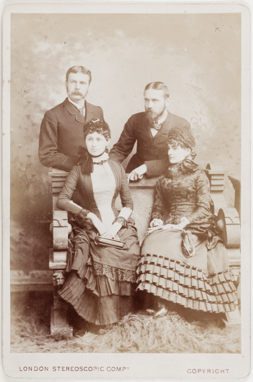 Studio portrait of Walter and Clare Hillier and Harry and Annie Hillier, England 1882
